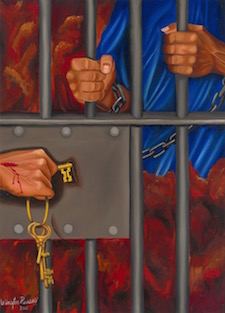 Artist rendering of Jesus in Prison, and the cell being locked.